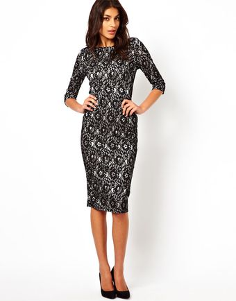 Tfnc Midi Dress in Layered Lace - Lyst