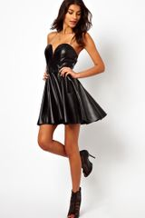 Tfnc Skater Dress in Pu with Plunge Neck - Lyst