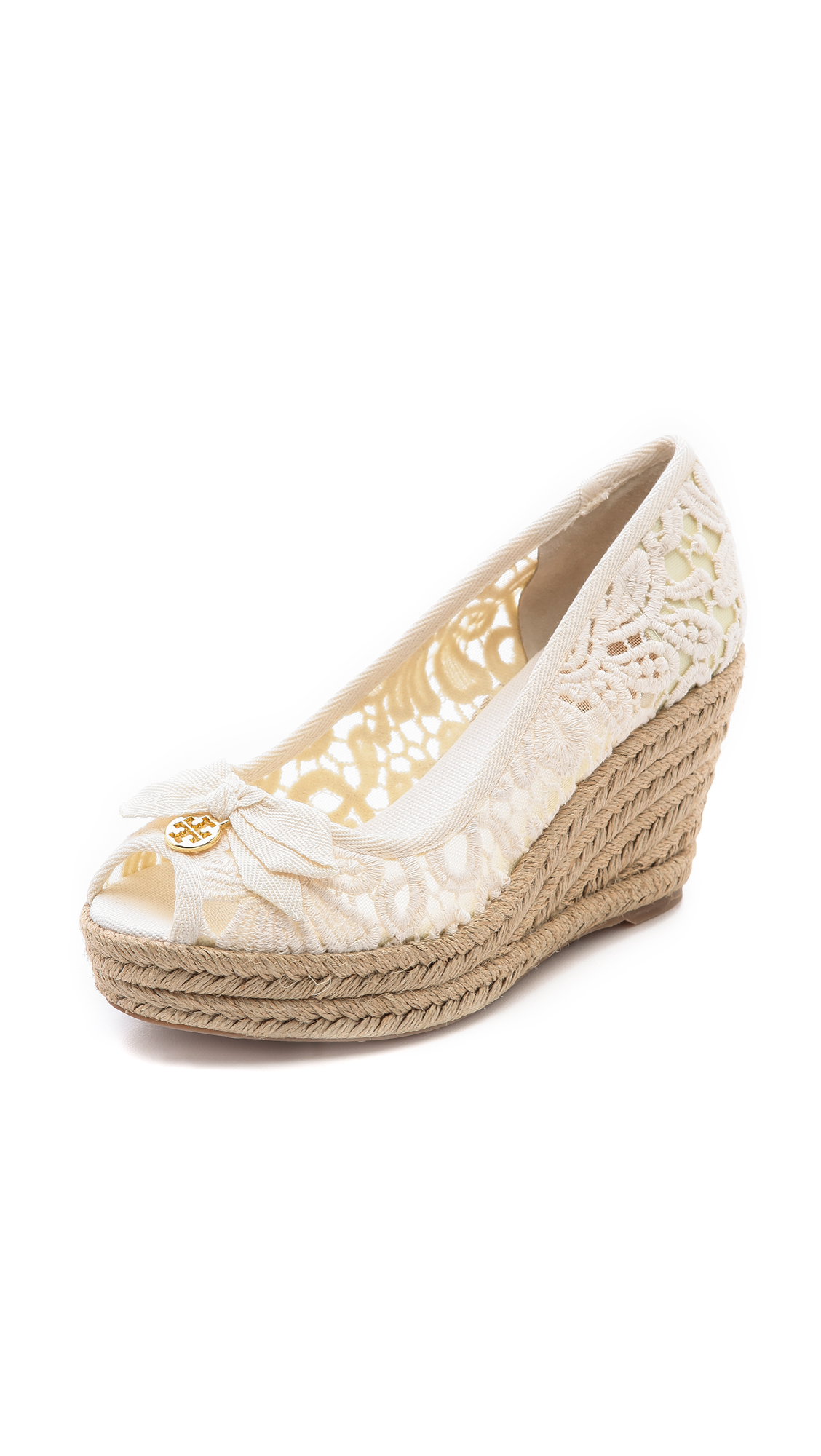 accf6ae523d8 Lyst - Tory Burch Jackie Peep Toe Wedge Espadrille in White
