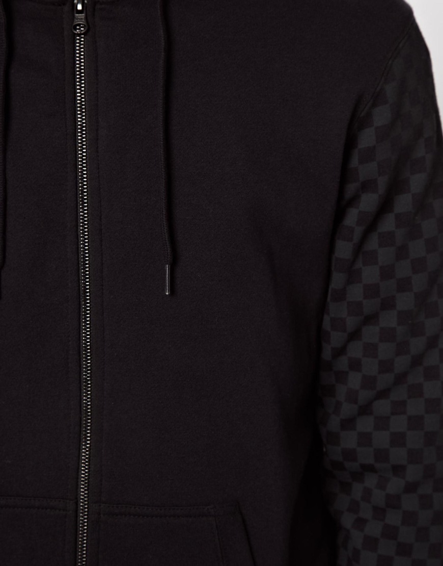 Lyst - Vans Zip Thru Hoodie with Checkerboard Sleeves in Black for Men 63ff78304