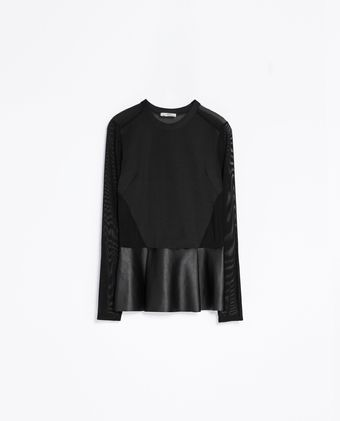 Zara Combined Faux Leather T-shirt - Lyst