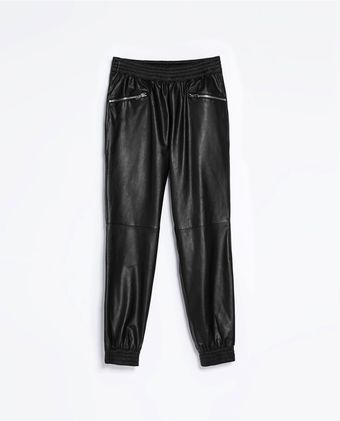 Zara Leather Effect Trousers - Lyst