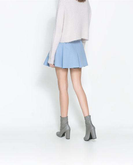 zara pleated mini skirt in blue sky blue lyst