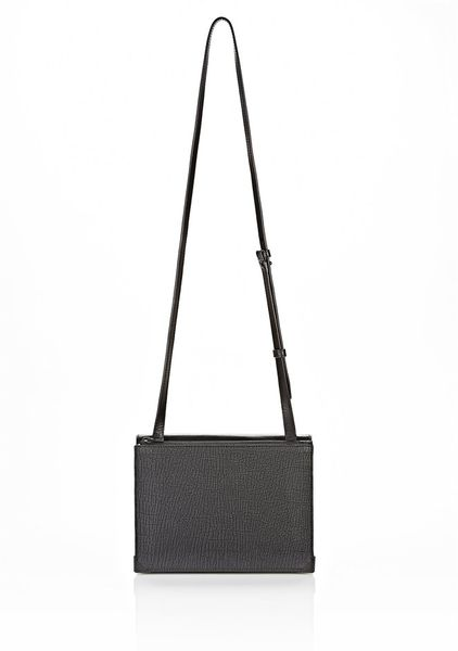 Alexander Wang Prisma Skeletal Double Envelope Clutch in Embossed Black with Matte Black in Black