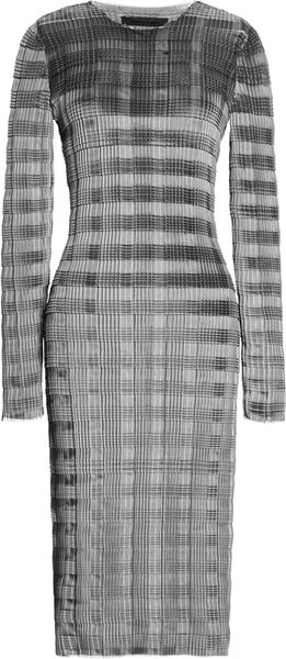 Alexander Wang Long Sleeve Pleated Knee Length Dress with Raw Edge - Lyst