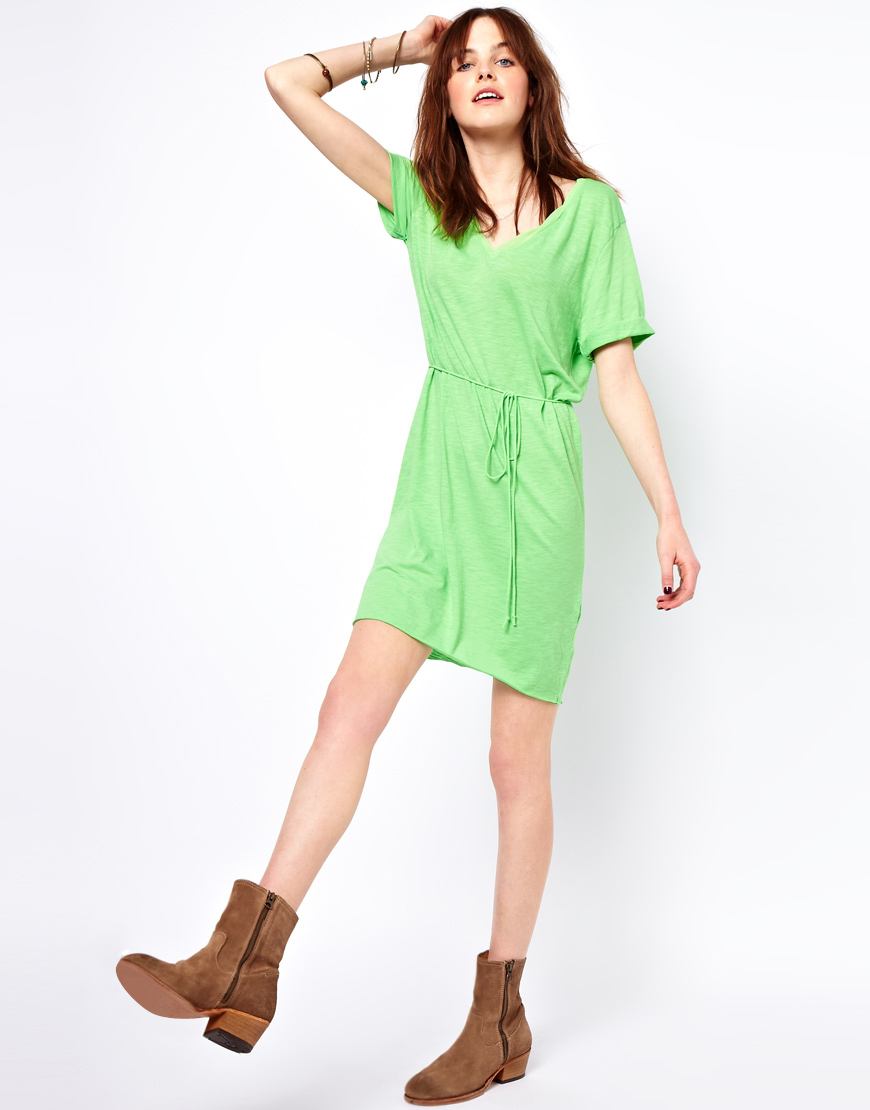 American vintage jac tee dress with tie belt in green for Apple green dress shirt