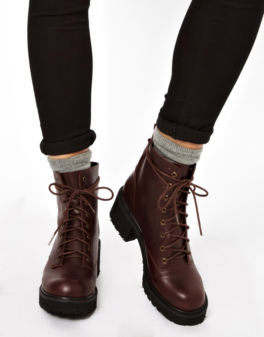 Asos Apart Lace Up Ankle Boots in Brown | Lyst