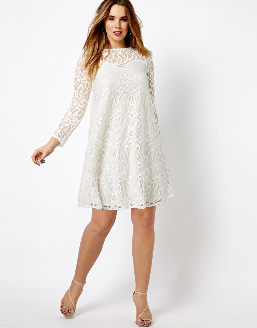 Asos Exclusive Swing Dress in Baroque Lace in Red | Lyst