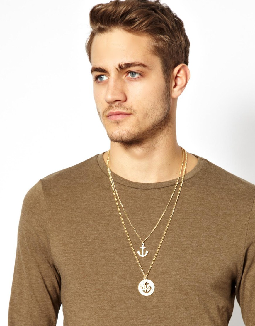 Lyst Asos Necklace With Cutout Anchor In Metallic For Men