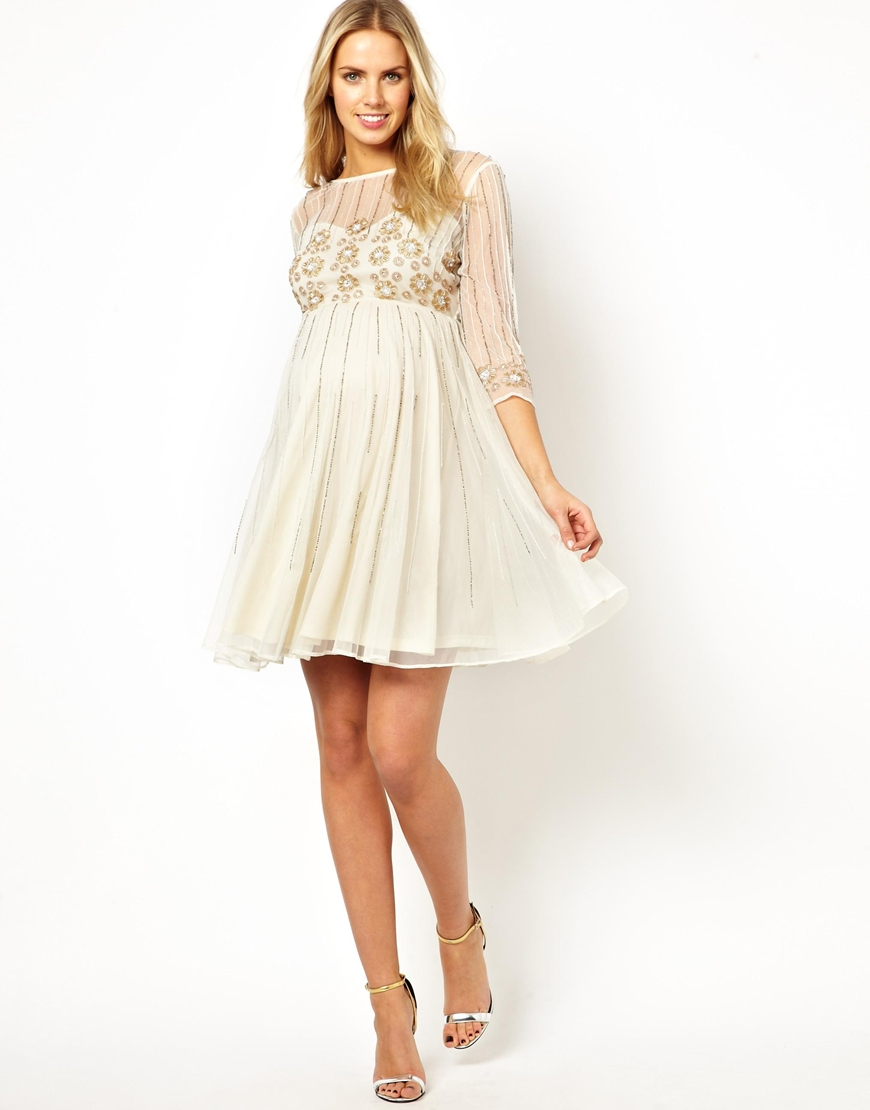 Asos skater dress with daisy embellishment in natural lyst be inspired ombrellifo Choice Image