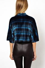 Asos Top with High Neck in Velvet Check - Lyst