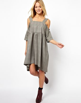 Asos Smock Dress with Cold Shoulder in Check - Lyst