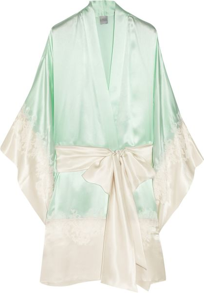 Carine Gilson Lace Appliquãd Silk Satin Robe in Green ...