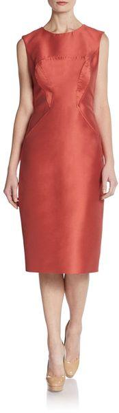 Carolina Herrera Mikado Sleeveless Sheath Dress - Lyst