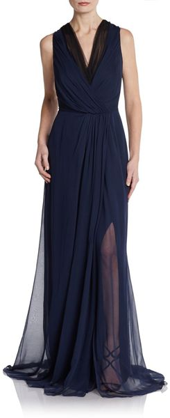 Carolina Herrera Two Tone Ruched Silk Column Gown - Lyst