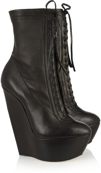 Casadei Leather Platform Wedge Boots In Black Lyst