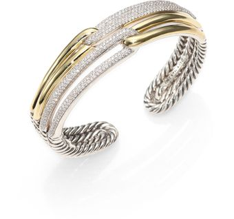 David Yurman Diamond 18k Yellow Gold Sterling Silver Double Loop Cuff Bracelet - Lyst