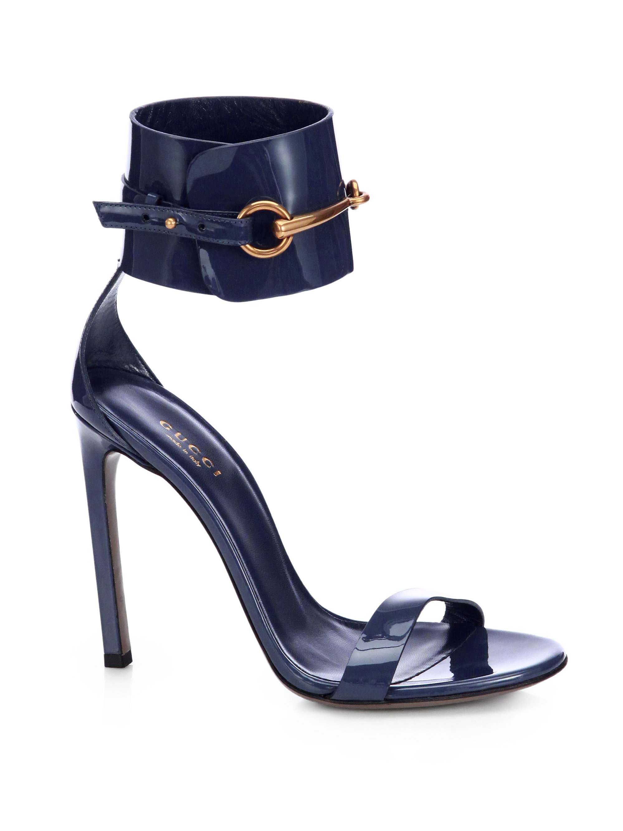 5d2c043c6 Gucci Ursula Patent Leather Horsebit Ankle-Strap Sandals in Blue - Lyst