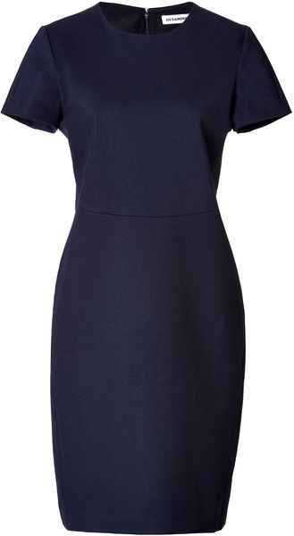 Jil Sander Jersey Cap Sleeve Aline Dress - Lyst