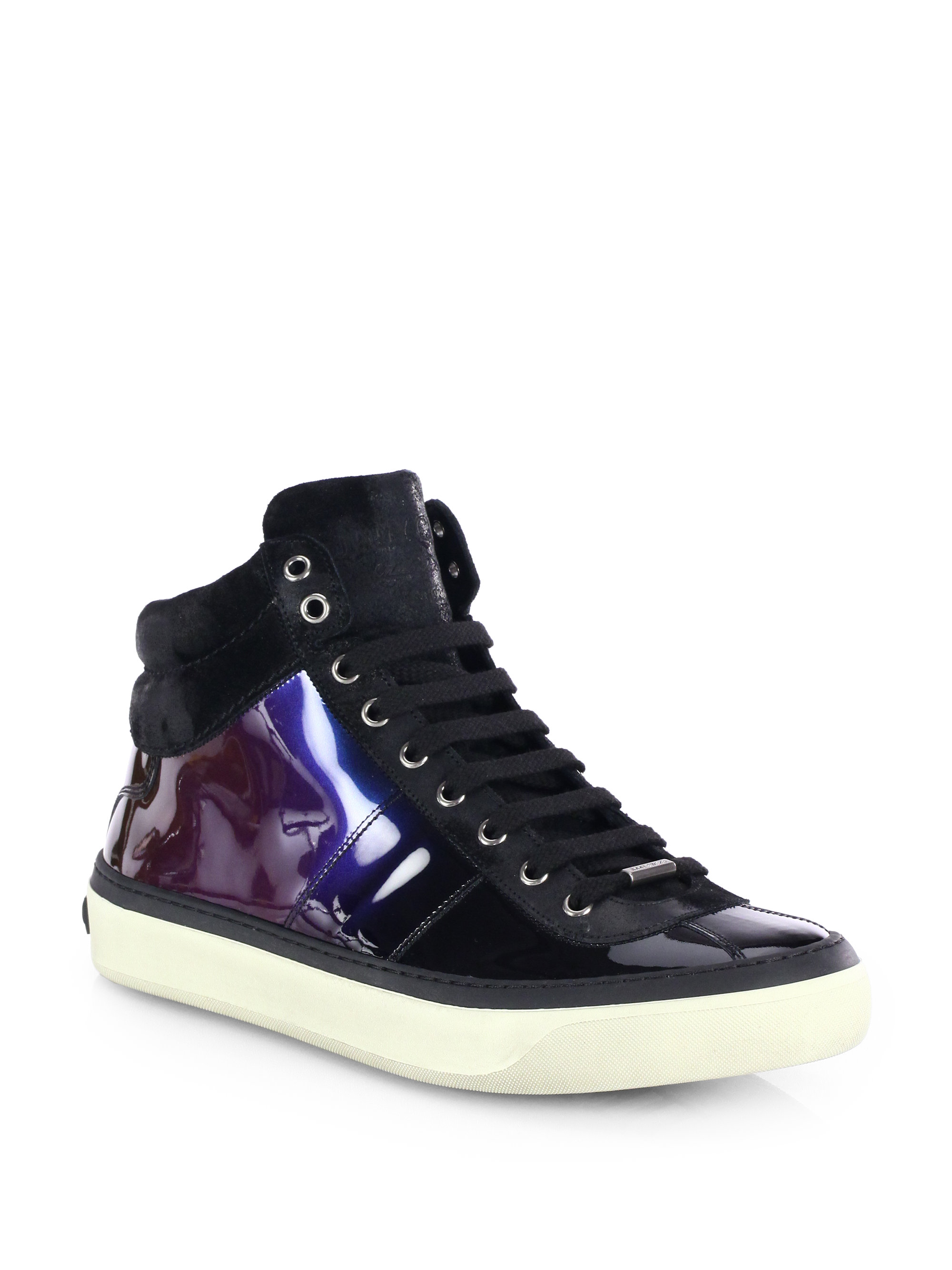 Jimmy choo Belgravi Hologram High-Top Sneakers in Purple