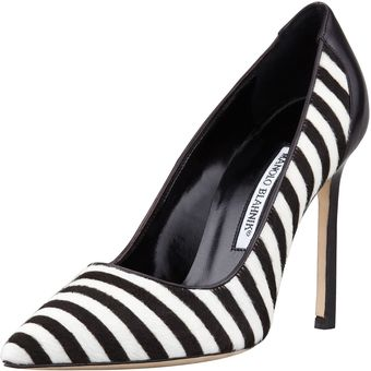 Manolo Blahnik Niteroi Striped Calf Hair Pump - Lyst