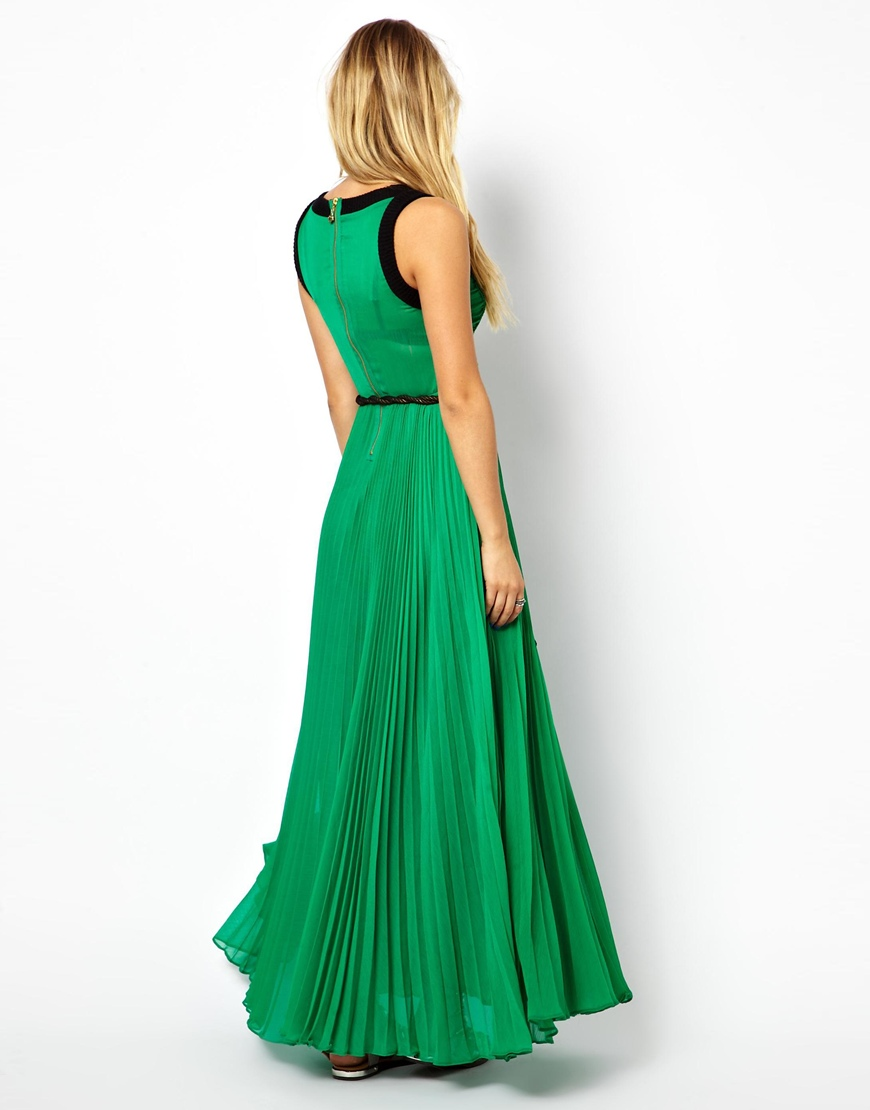 Manoush Stretch Pleated Maxi Dress In Green Lyst