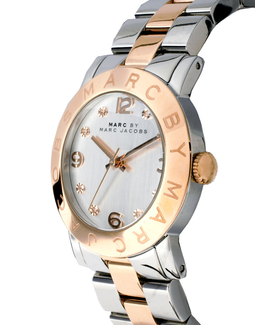 Marc Jacobs Amy Silver And Rose Gold Two Toned Watch Mbm3194 in Metallic -  Lyst 0066dda79f