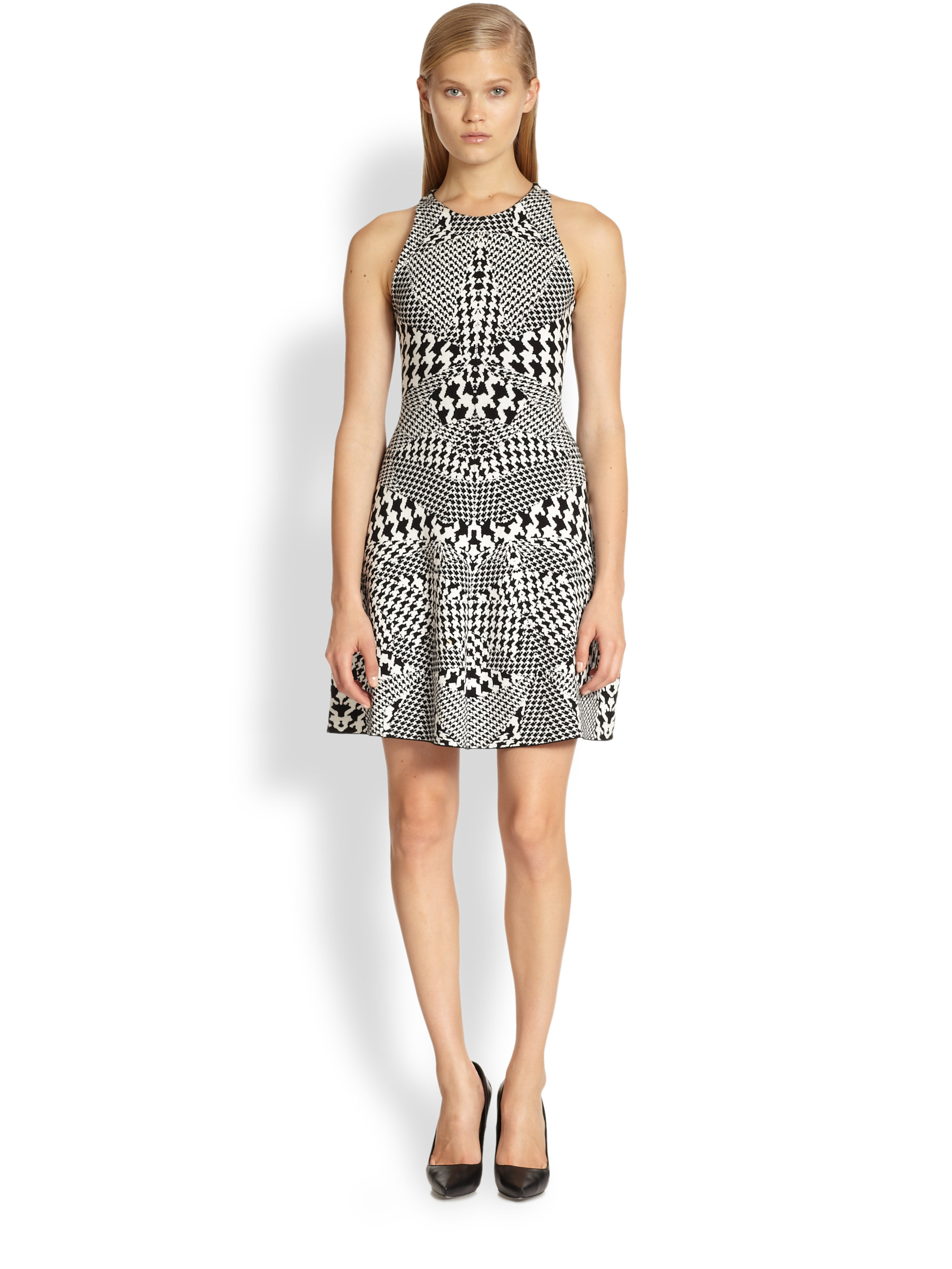 Mcq By Alexander Mcqueen Houndstooth Print Dress In Gray
