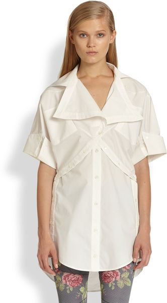 McQ by Alexander McQueen Asymmetrical Paneled Cotton Shirt - Lyst