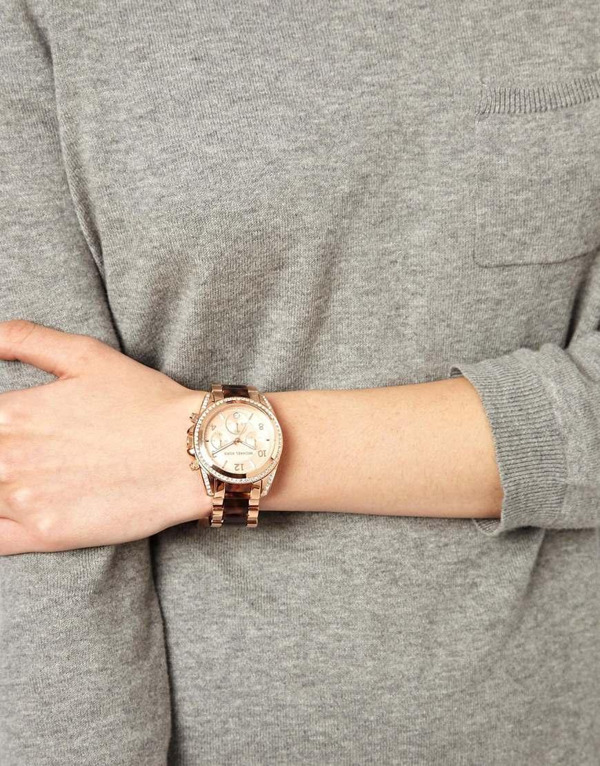 1404b1f6d Michael Kors Blair Rose Gold Tortoiseshell Watch in Pink - Lyst