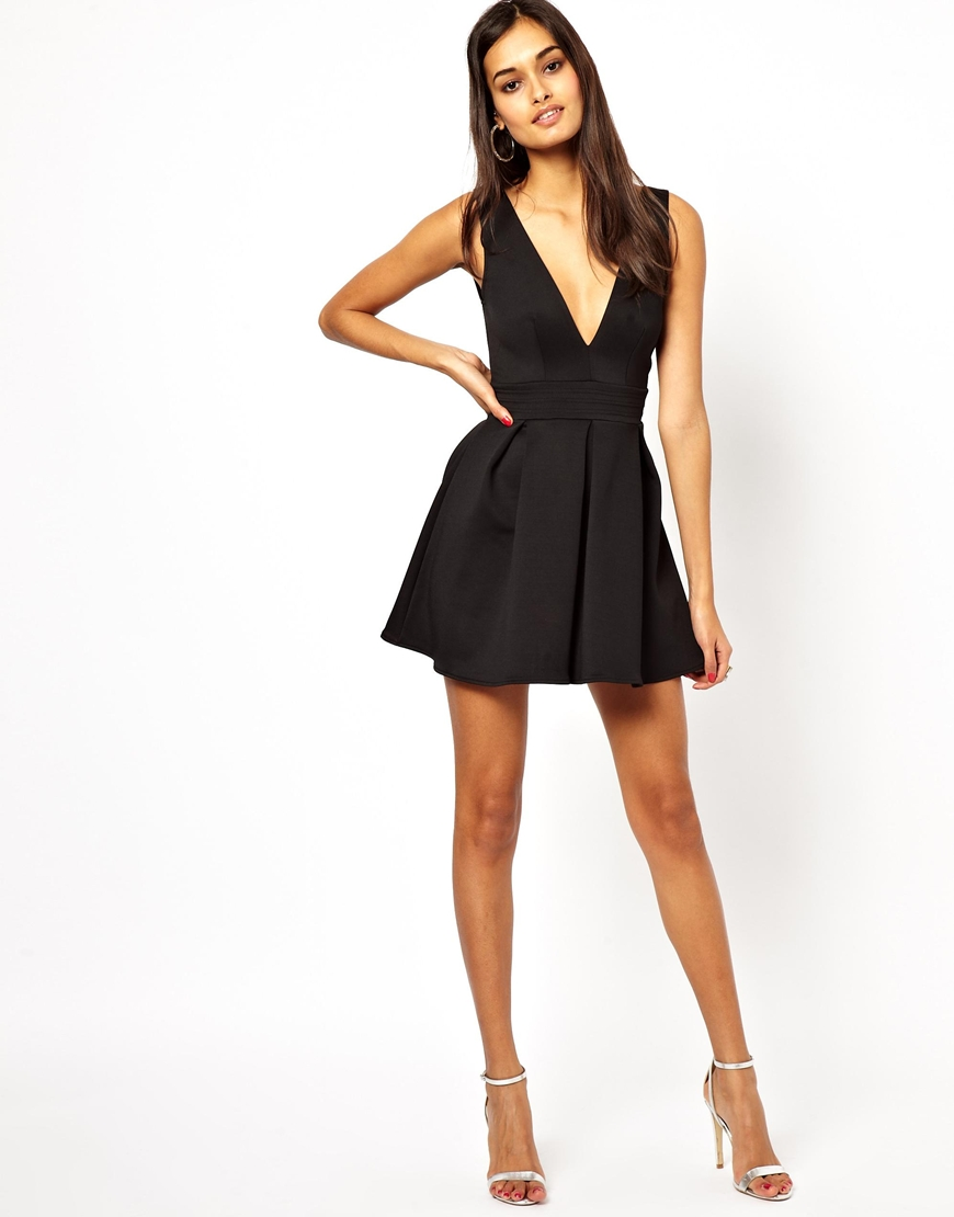 0ee9d175bd Lyst - Oh My Love Skater Dress with V Neck in Black