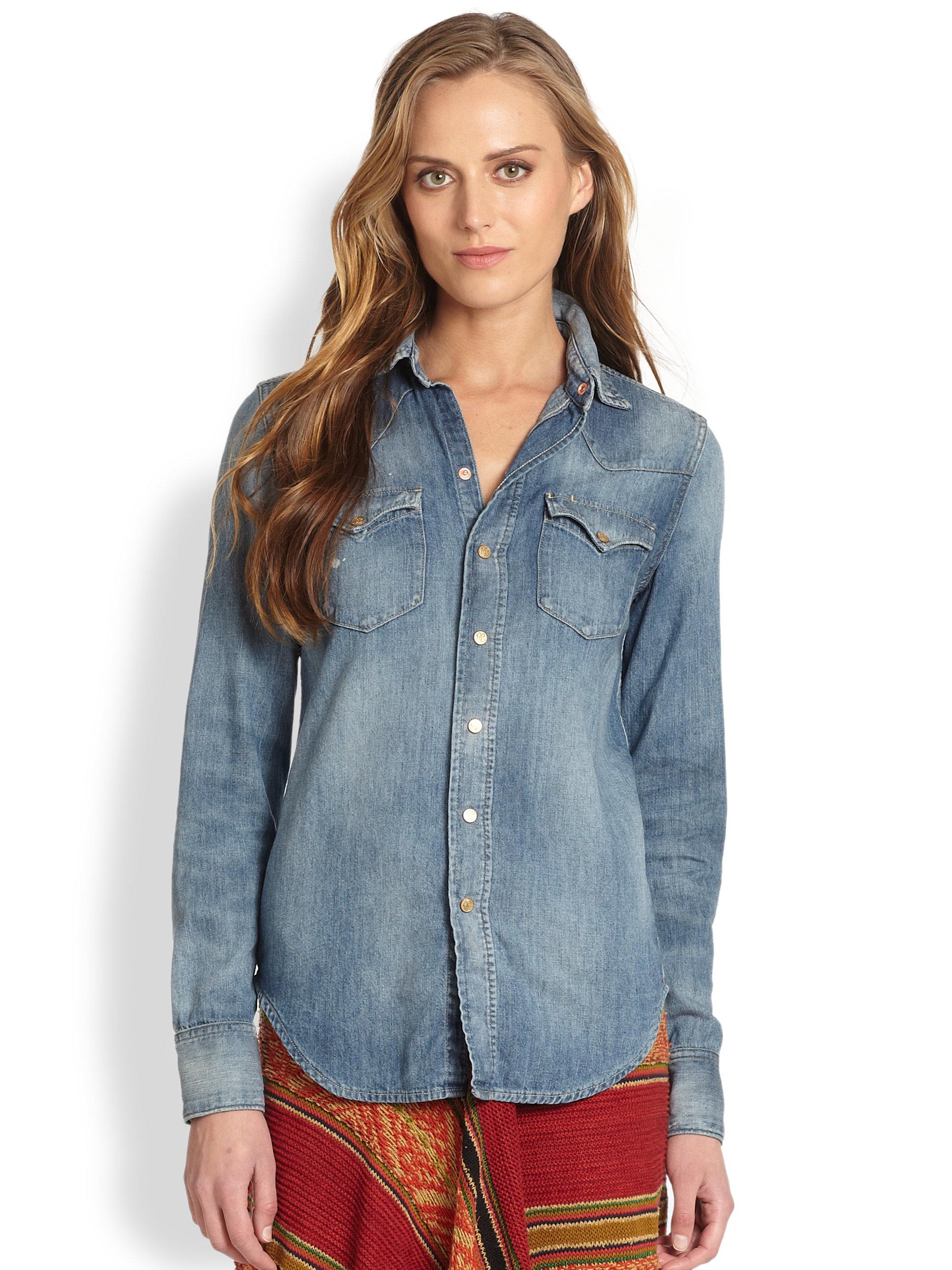 7d5f079a ... canada lyst ralph lauren blue label western chambray shirt in blue  354ff d3988