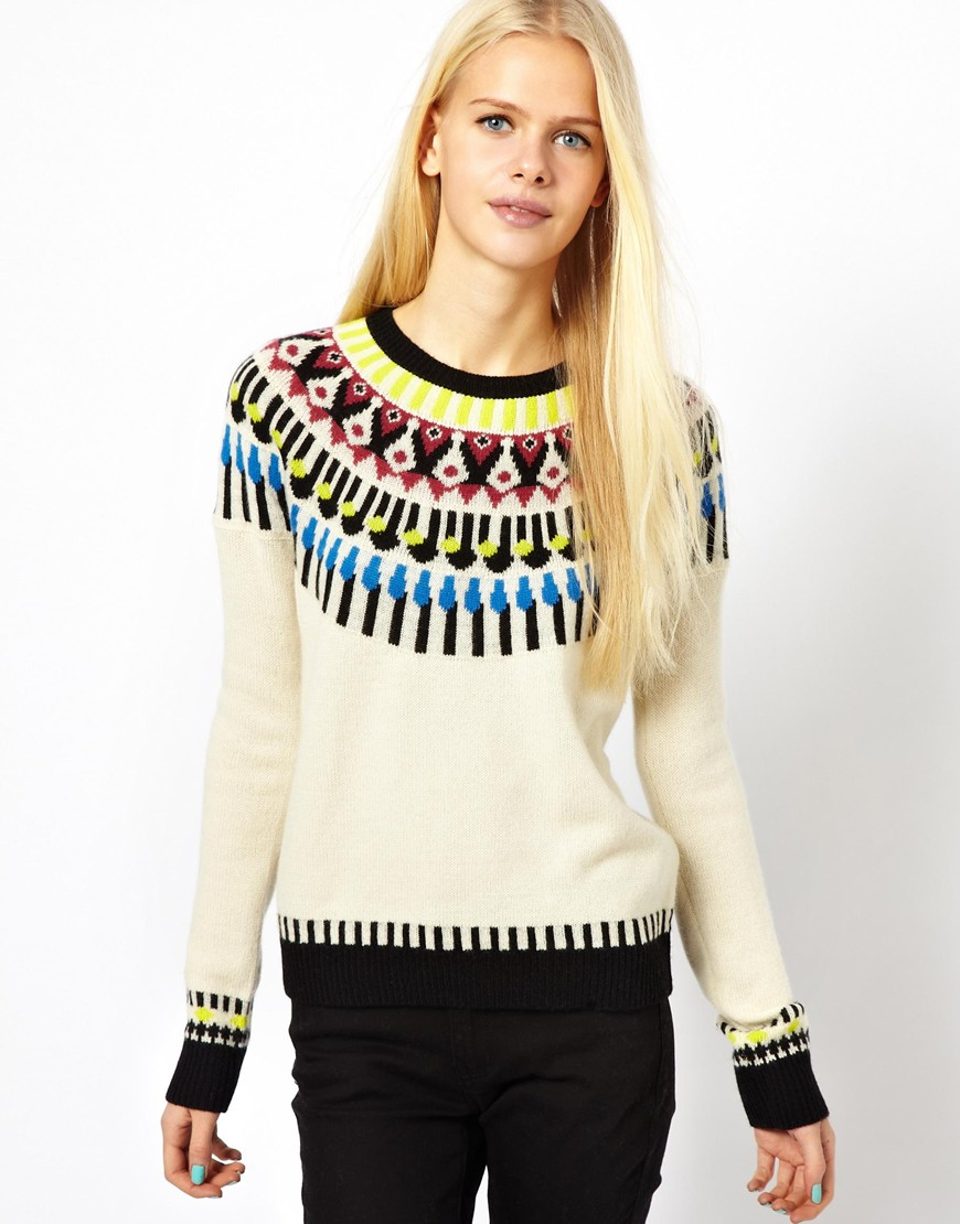 Shae Long Sleeved Fairisle Cashmere Jumper in Natural | Lyst
