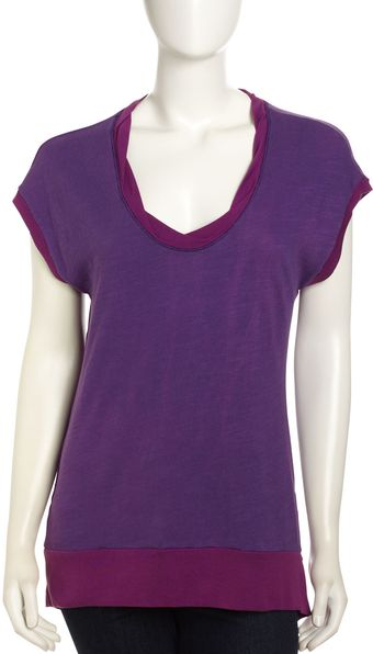 Splendid Mock-cowl Neckline Top Deep Plum - Lyst
