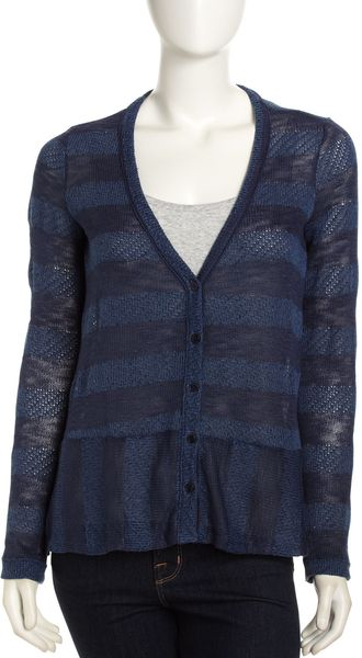 Splendid Open Knit Cardigan Navy - Lyst