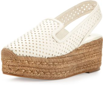Stella McCartney Perforated Espadrille Flatform Sandal - Lyst