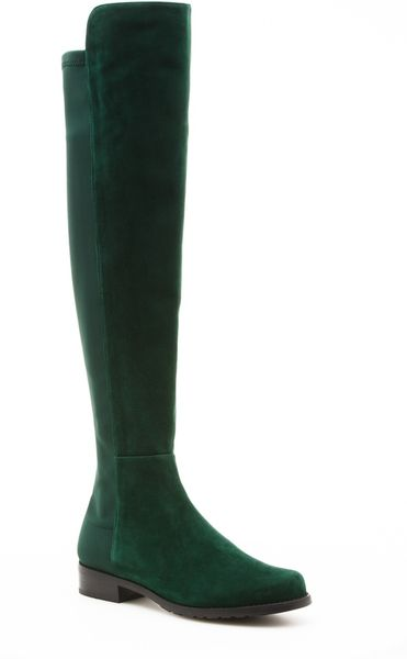 Stuart Weitzman Over The Knee Leather Boots In Green