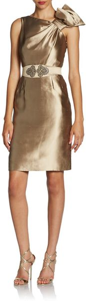 Teri Jon Metallic Silk Ruffledshoulder Dress - Lyst