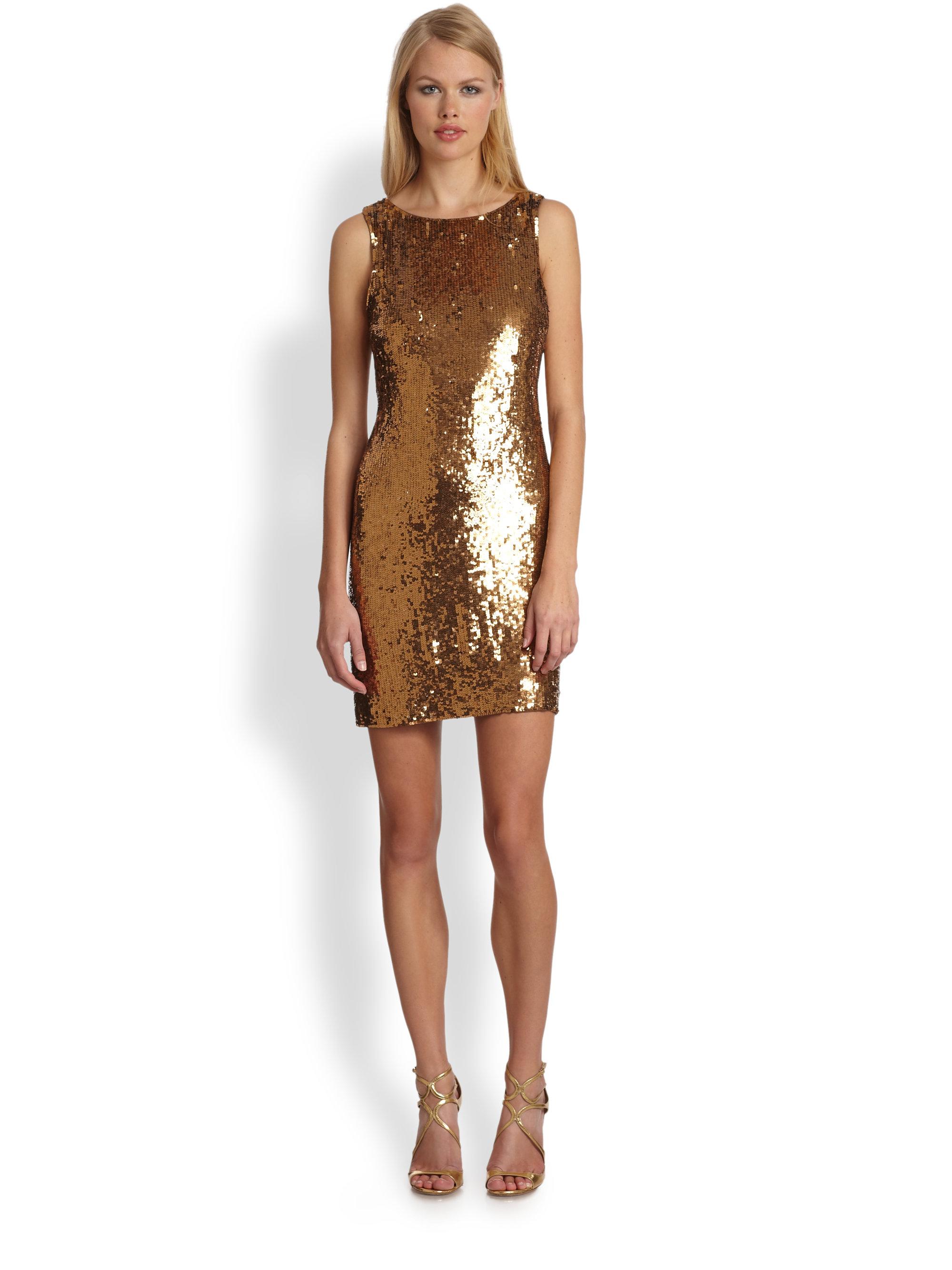 Trina turk Silk Sequin Dress in Metallic - Lyst