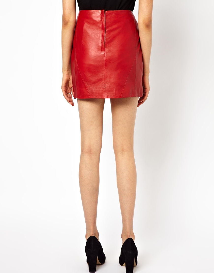 Urbancode Leather Mini Skirt in Red | Lyst