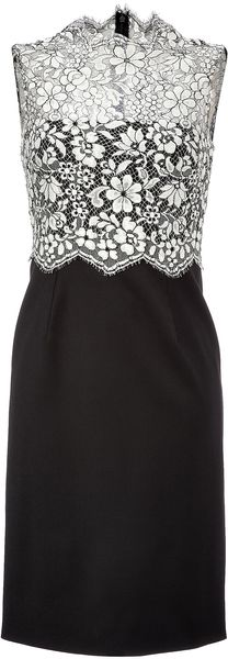 Valentino Lace Bodice Sheath in Black and Ivory - Lyst
