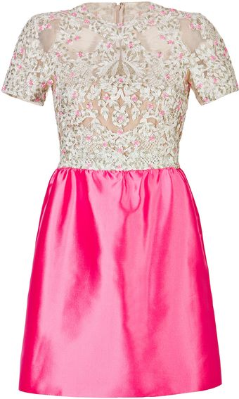 Valentino Silk Embellished Bodice Dress in Ivory and Pink - Lyst