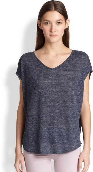 Vince Heathered Cocoon Vneck Top - Lyst