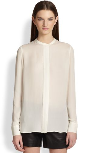 Vince Color Tipped Silk Blouse - Lyst