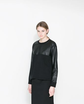 Zara Leather Sweatshirt - Lyst