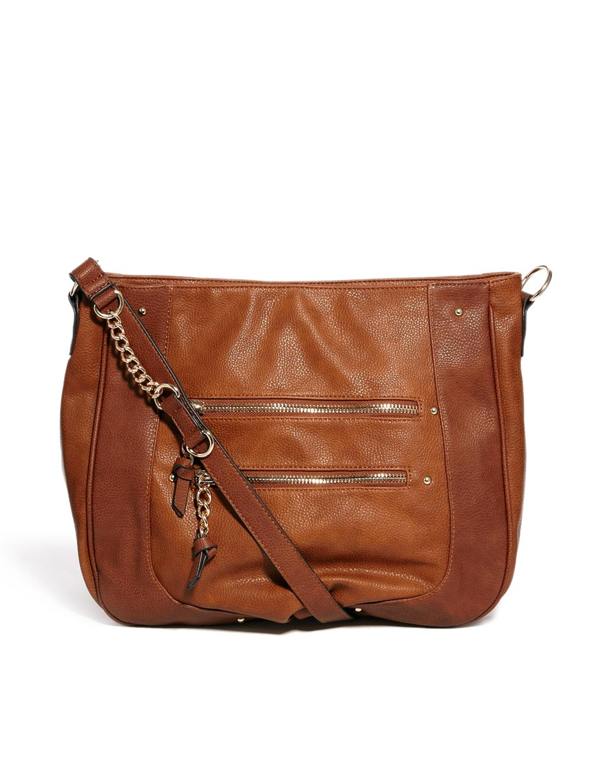 Moschino Slouchy Pleated Shoulder Bag Brown 47