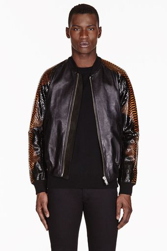 Alexander McQueen Black Leather and Python Bomber - Lyst