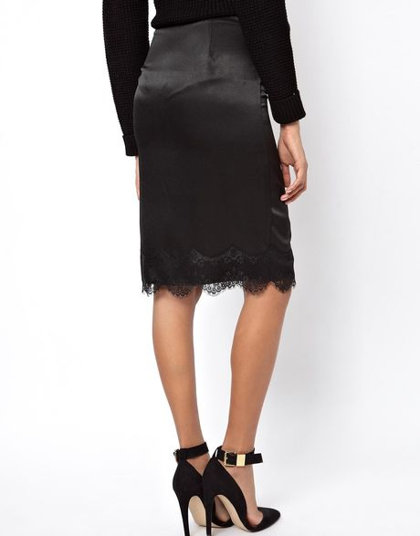asos satin pencil skirt with lace hem in black lyst