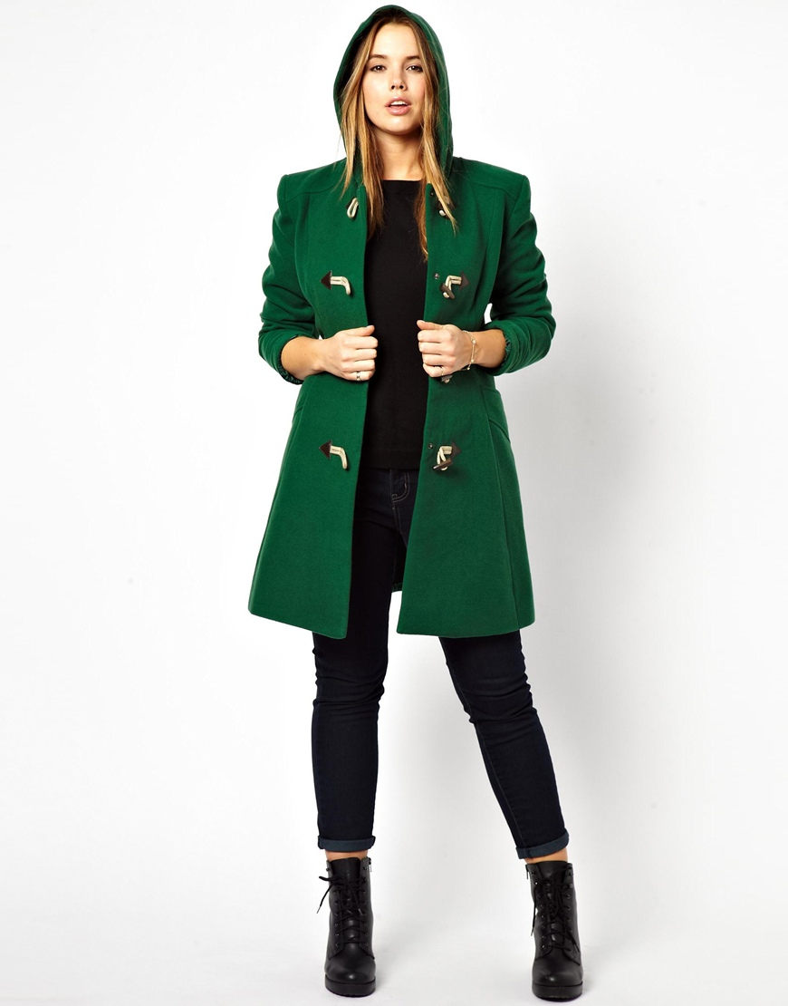asos exclusive duffle coat with hood in green lyst. Black Bedroom Furniture Sets. Home Design Ideas