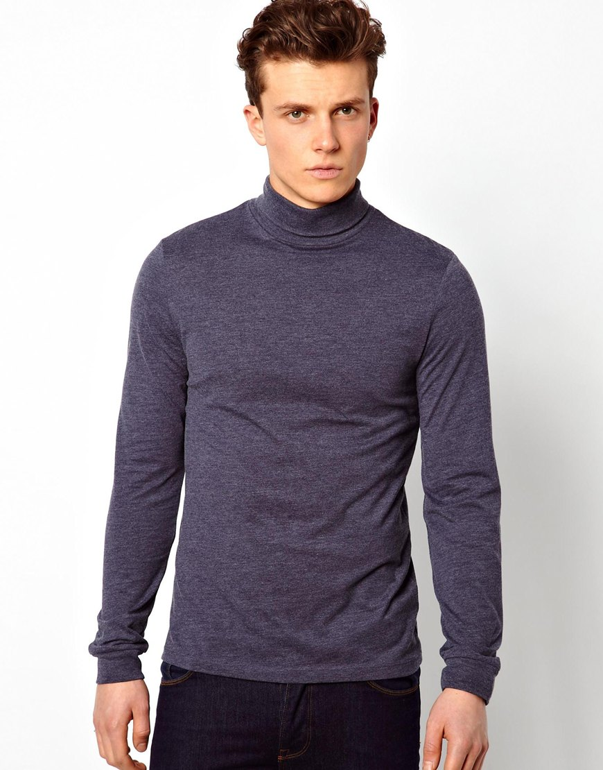 Asos Long Sleeve Tshirt With Roll Neck In Blue For Men Lyst
